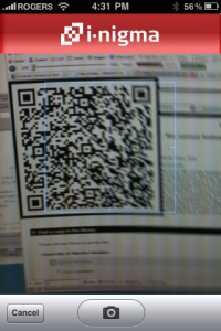 Capturing a QR Code in i-nigma