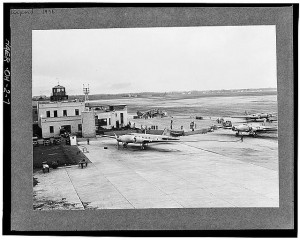 Black and white photograph of an airport