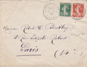 Envelope addressed to Robert C. Binkley in purple ink.