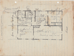 Handdrawn floor plan of an apartment